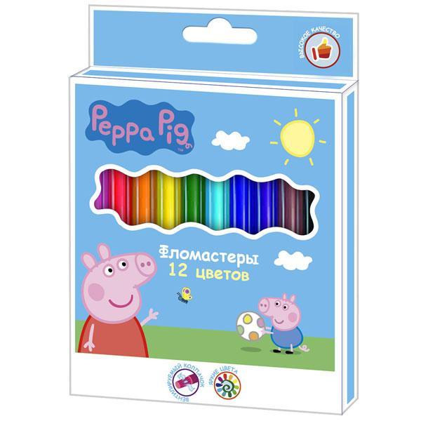 Фломастери 12 кольорів, ТМ Peppa Pig