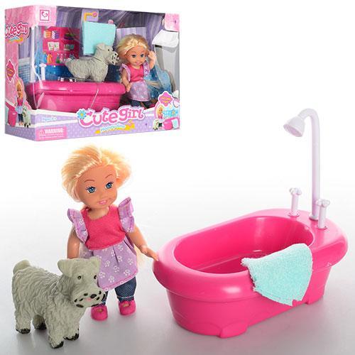 Кукла K899-16  11,5см, ванна 14см, собачка, в кор-ке, 22-16-9см