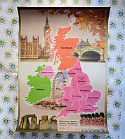 Карта Англии. Плакат бумажный