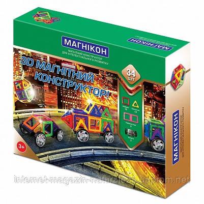 3д магнитный конструктор Магникон 34 деталей