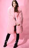 Шуба из натурального меха ламы пудровая (розовая)