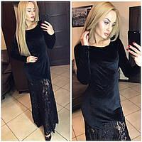 Вечернее платье макси велюр