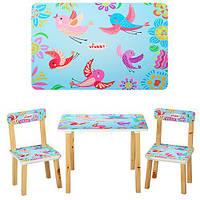 Столик 501-1  деревянный, 60-40см, 2 стульчика, голубые птички, в кор-ке,