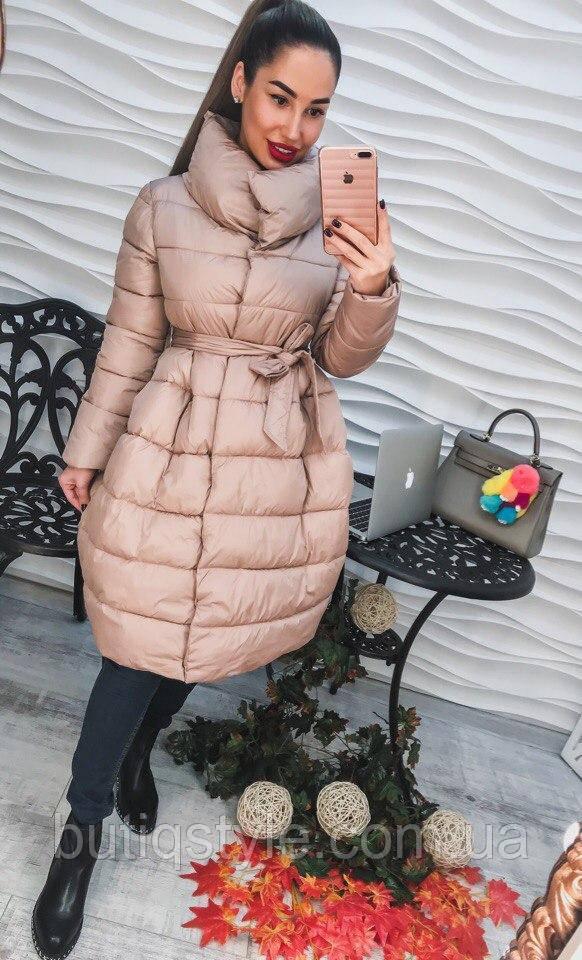 Стильное элегантное женское пальто с поясом беж и марсала