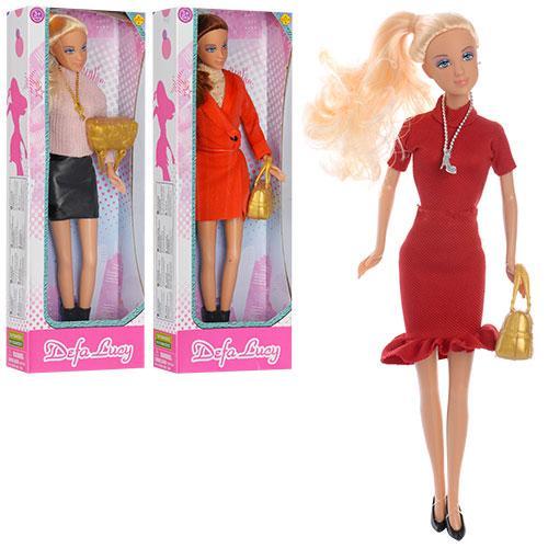Кукла DEFA 8365  29см, сумочка, 3 вида, в кор-ке, 31-11-5см
