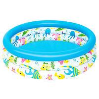BW Бассейн 51008  детский, круглый, 102-25 см, 3 кольца, в кор-ке,