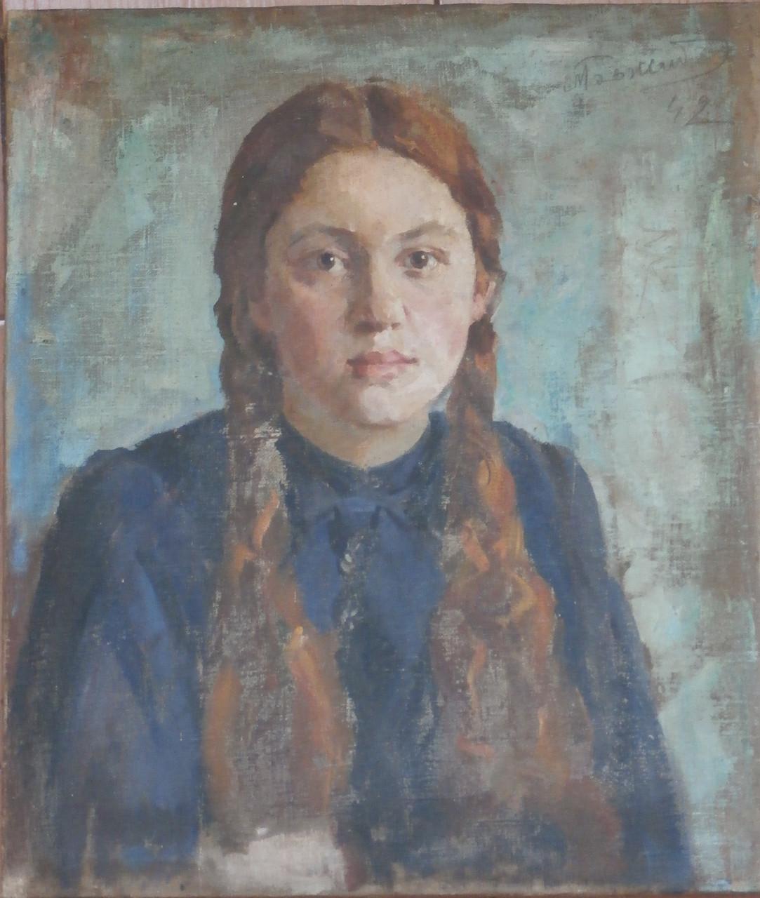 Картина девушка в шляпе с пером
