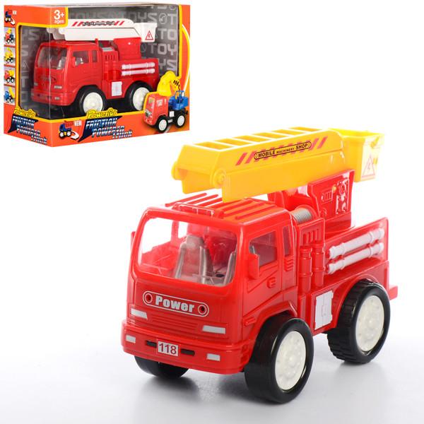 Пожарная машина 118A5  инер-я, 16см, вышка, подвижные детали, 2цвета, в кор-ке, 21-15,5-10см
