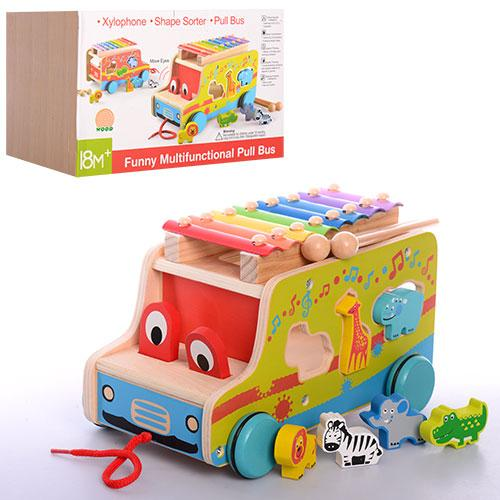 Деревянная игрушка Игра MD 1084  машинка,каталка,ксилофон,сортер,в кор-ке,28,5-18,5-18,5см