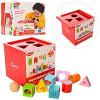 Деревянная игрушка Сортер MD 1077  куб, фигурки 9шт, в кор-ке, 16-16-15,5см