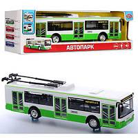 Троллейбус 9690A  инер-й,28см,1:43,звук,св,рез.колеса,отк.дв,бат,в кор, 33-10-9,5см