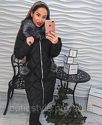 Стильное женское пальто с капюшом и опушкой на молнии, премиум класса