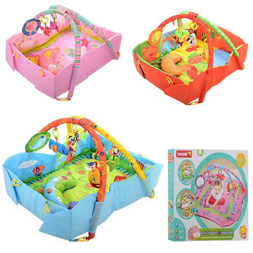 Коврик для младенца FC035-36-37  дуга 2шт, подвески, подушка, зеркало, 3вида, в кор-ке, 67,5-5