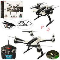 Квадрокоптер X33-1  р/у2,4G,аккум,складной,свет,4канала,USBзарядн,зап.лопас,в кор,34-24,5-8см