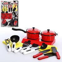 Посуда 6811  плита, кастрюля, кухонный набор, досточка,на листе, 28,5-43,5-5см