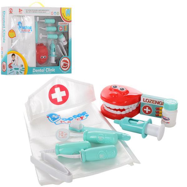 Доктор 8021B  стоматолог,халат,зубная щетка,шприц,инструменты,10предм,в кор-ке, 44,5-34,5-7см