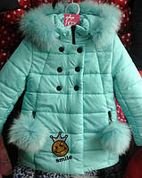 Детский зимний пуховик на девочку Смайл мята Размеры 32, 34
