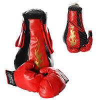 Боксерский набор M 1044  груша 38-23см, 8 звуков, перчатки, на бат-ке, в сетке, 23-38-23см