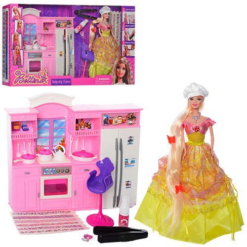 Мебель 68024  кухня33-30-5см,кукла29см,краска для волос,аксесс,в кор,60-33-11см