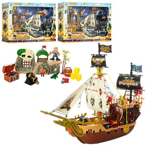 Корабль пиратов 37892ABC  46см, фигурки, бочки, строение, 3вида, в кор-ке,42-71-13см