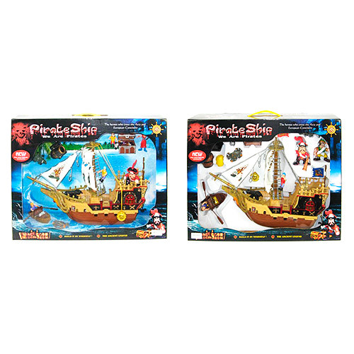 Корабль пиратов 37001-39001  фигурки,лодка,пушка,2вида, в кор-ке,59,5-42-13,5см