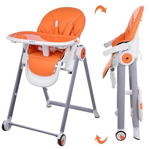 Стульчик M 3550-7 MOON  для кормления, 5-точ.ремни, столик выдвиг, 2 колеса, кож., оранж