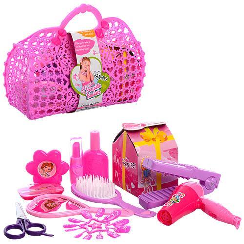 Набор парикмахера KZ-2541  расческа, ножницы, плойка, зеркало, в сумке, 22-17-9см