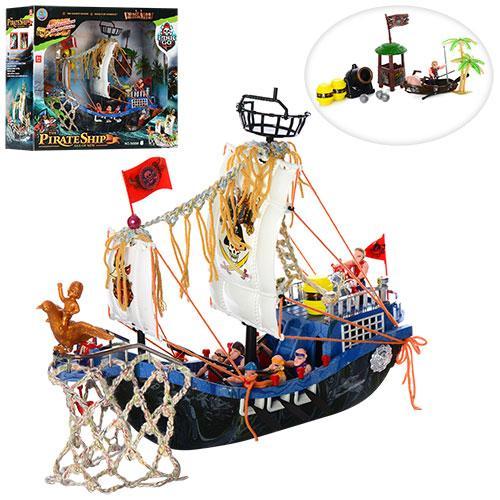 Корабль пиратов 50898F  40-36см, фигурки9шт, пушка, вышка, в кор-ке, 49-42-20см