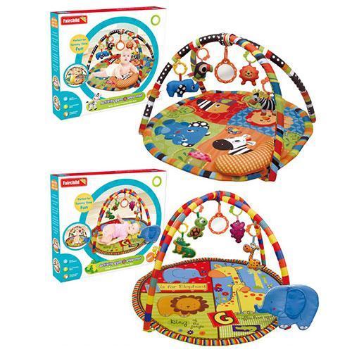 Коврик для младенца FC081-82  85см,дуга2шт,подвески 5шт,зеркало,2вида,в кор-ке,56-51-8см