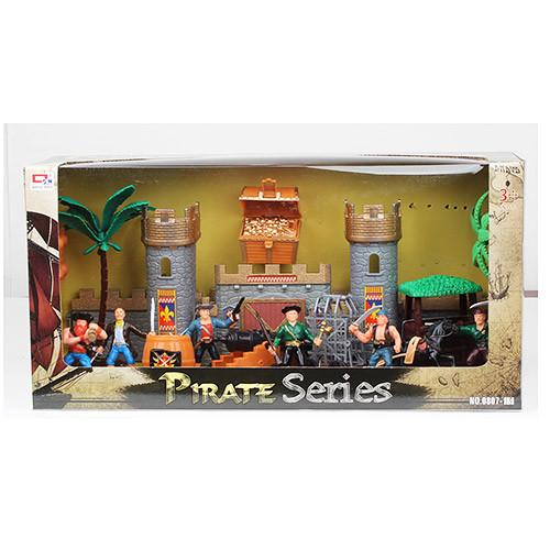 Замок 0807-5  пиратов,фигурки, пушка, пальма, в кор-ке, 36-24,5-15,5см