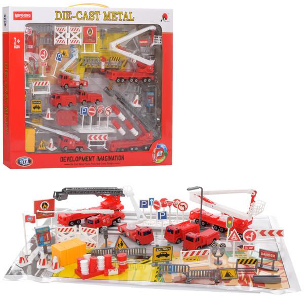 Набор транспорта MS6603  металл,1:72,пожарн,вышка,трейлер,машинки,дор.зн,в кор-ке,51-35,5-4см