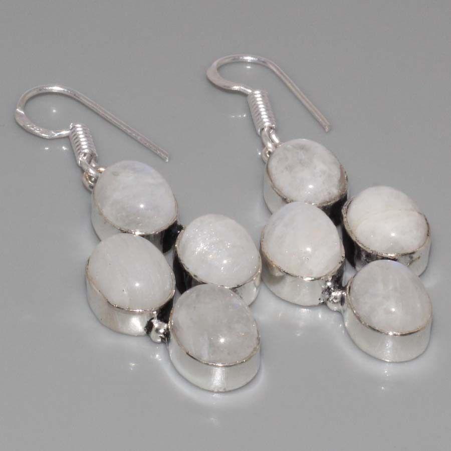 Лунный камень. Красивые серьги с лунным камнем в серебре. Натуральный лунный камень. Индия