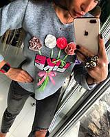 Женский теплый свитер из пайеток и цветов  дд202, фото 1