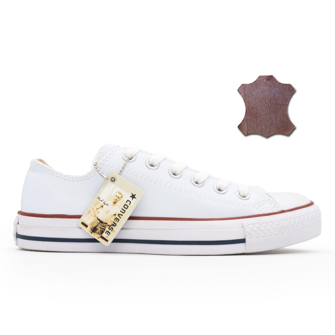 Кожаные Кеды Converse (Конверс) Низкие Белые. Топ Качество! Р.(40 ... fe61f3e1eb273
