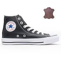 Кожаные кеды Converse (Конверс) высокие черные. Топ качество!