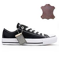 Кожаные кеды Converse (Конверс) низкие черные. Топ качество! р.(36 39fc5dd4a50c8
