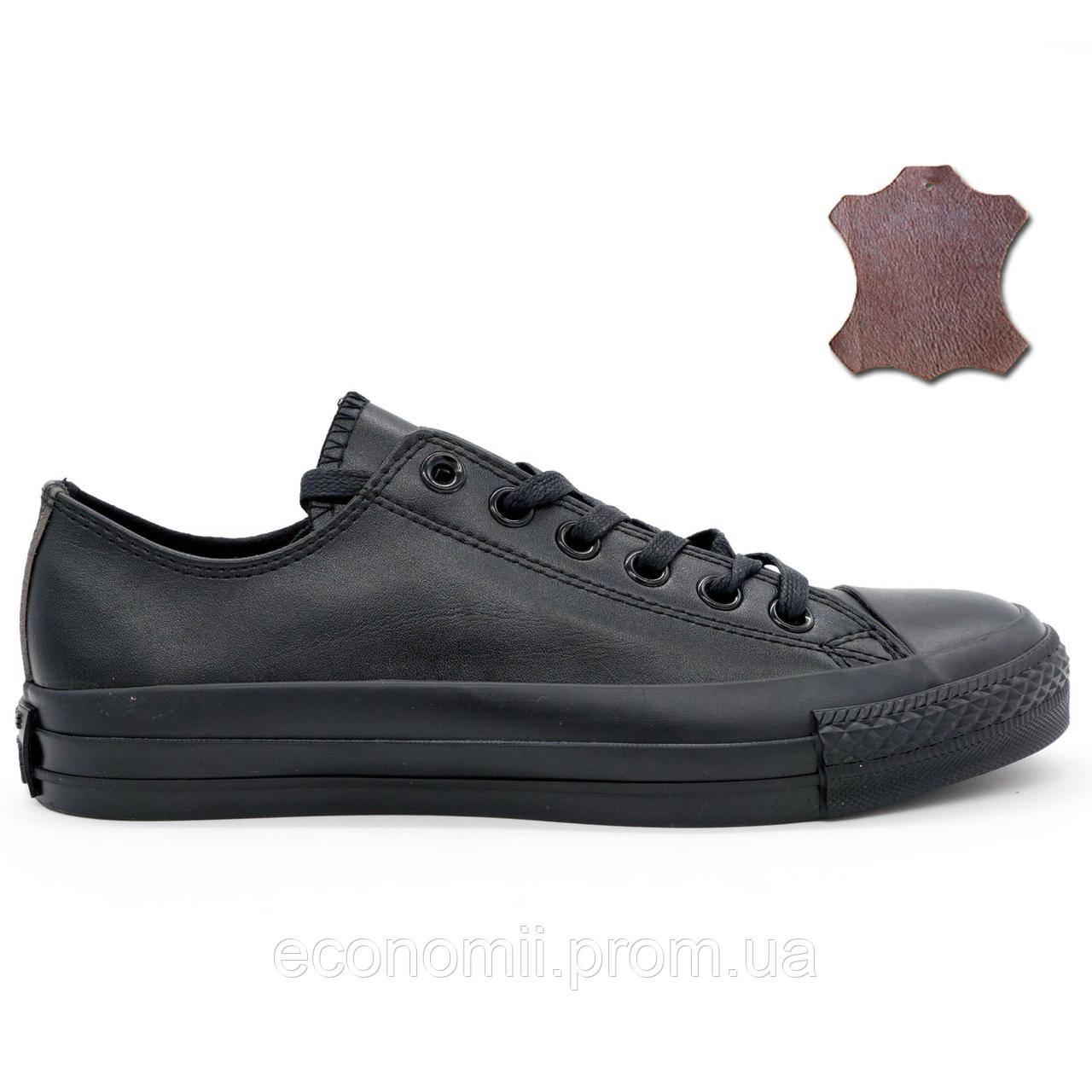 Кожаные кеды Converse (Конверс) низкие полностью черные. Топ качество! р.( 1d1bbd404621f
