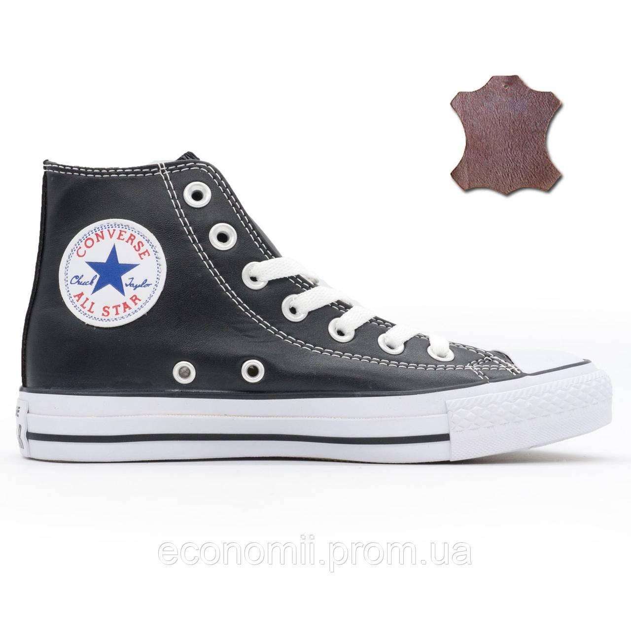 Кожаные кеды Converse (Конверс) высокие черные. Топ качество! - Реплика р. e093c0f9f3eb0