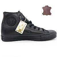 Кожаные кеды Converse (Конверс) высокие полностью черные.  - Реплика р.(37, 38)