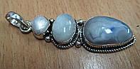 Тройной кулон  с натуральным лунным камнем, агатом и жемчугом  от студии LadyStyle.Biz, фото 1