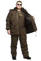Зимний костюм олива однотонный   .-30 ,комфортный и теплый ,для рыбалки и охоты