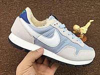 Nike Internationalist Light Blue/White С МЕХОМ