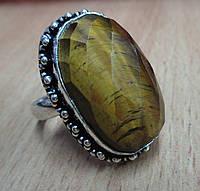 """Симпатичное  кольцо """"Грань"""" с тигровым глазом, размер 20,2  от студии LadyStyle.Biz, фото 1"""