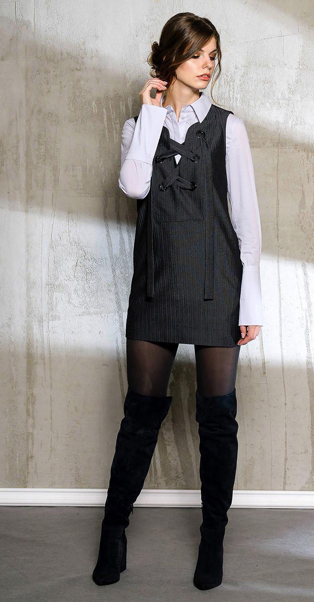 Платье Anna Majewska-1041/1 белорусский трикотаж, черный, 42