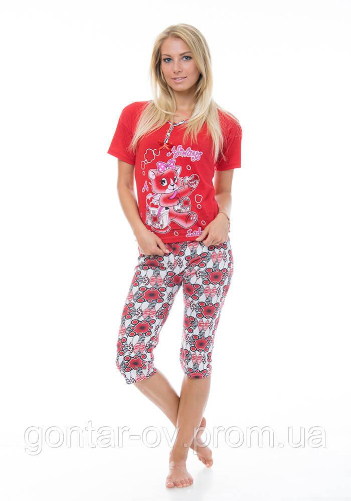 Пижама женская,комплект Турция,хлопок.Футболка+бриджи.