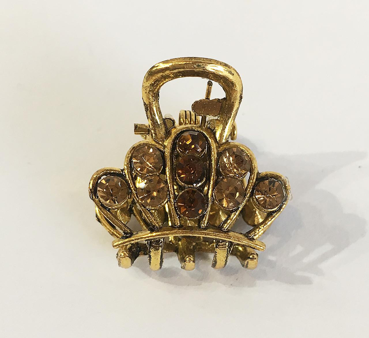 Заколка краб металл мини Коронка  золото ( упаковка)