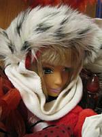 Фирменная шапка шарф белая мех снегурочка хомут новый год на 55-58 размер отличное состояние