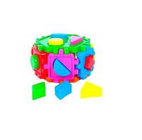 Логический шестигранник-сортер, с геометрич. фигурами,. 14*14*14см в пакете /15/(50-103)