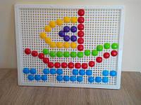 Мозаика с круглыми фишками 60 шт., доска 27,5*21,5 см. /20/(30-015)