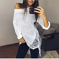 Свитер-туника вязаная рваная белая,модная одежда 2017